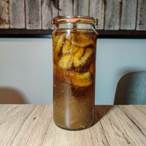 Rhum arrangé Vanille, Bananes caramélisées et flambées
