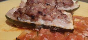 Courgettes farcies à l'échine de porc et mortadelle