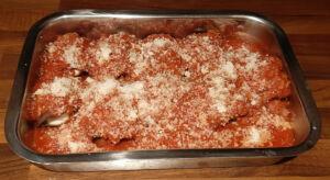 Gratin aubergines roulées à la mozzarella
