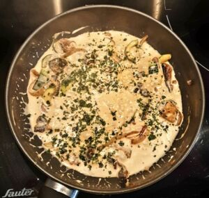 Riz à la courgette et aux champignons